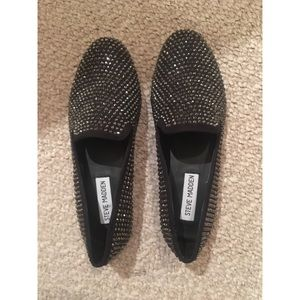 NWT Steve Madden Black sparkle loafers Sz 6.5